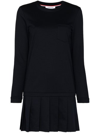Thom Browne Loopback Jersey Drop Waist Pleated Mini Dress - Farfetch