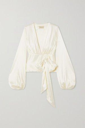 Alexandre Vauthier | Silk-blend satin wrap blouse | NET-A-PORTER.COM