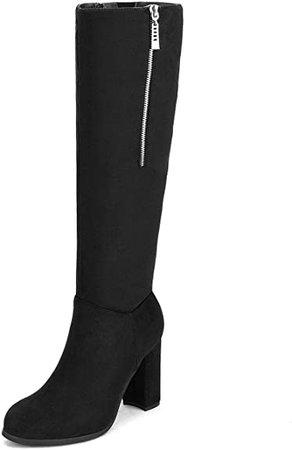 Amazon.com | DREAM PAIRS Women's Chunky Heel Knee High Winter Boots | Knee-High