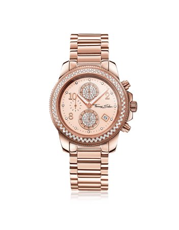 Thomas Sabo Glam Chrono Rose Gold Stainless Steel Women's Watch W/crystals