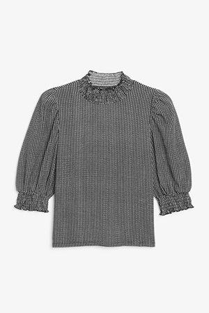 Ruffle neck blouse - White and black check - Shirts & Blouses - Monki WW