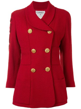 Shop red & gold Chanel Pre-Owned logo double-breasted jacket with Express Delivery - Farfetch
