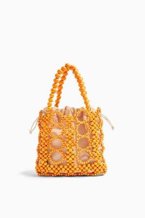 Orange Beaded Mini Grab Bag   Topshop