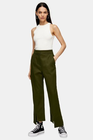 Khaki Step Hem Pants by Boutique
