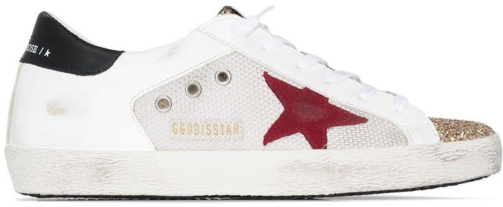 white Superstar mesh leather sneakers