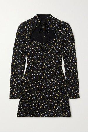 Black Vivianne floral-print georgette mini dress   Reformation   NET-A-PORTER