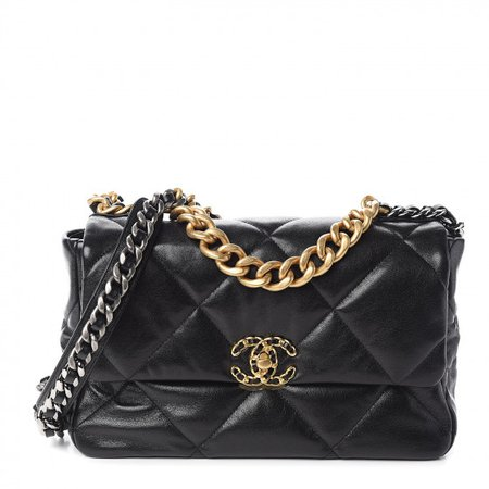 CHANEL Goatskin Quilted Large Chanel 19 Flap Black 518044