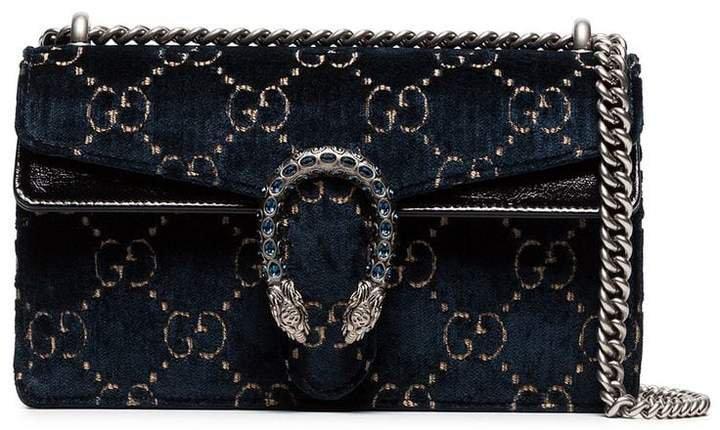 Dionysus leather-trimmed embossed velvet bag