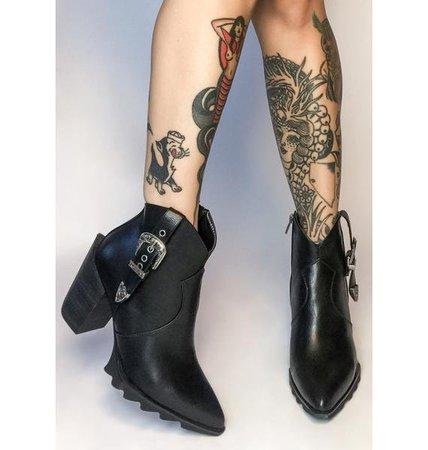 Lamoda Western Buckle Pointed Ankle Boots - Black | Dolls Kill