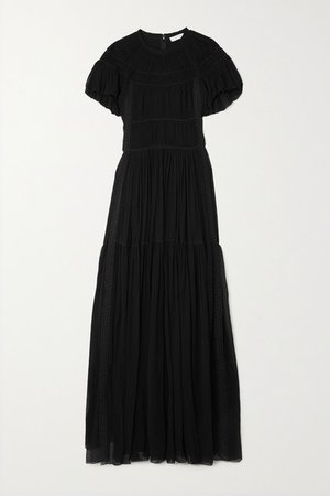 Lace-trimmed Silk-crepon Maxi Dress - Black