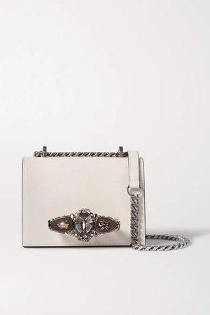 Jewelled Satchel Embellished Lizard-effect Leather Shoulder Bag - Ivory