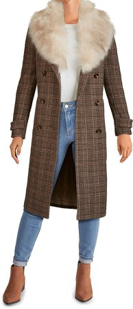 Plaid Long Coat with Removable Faux Fur Collar