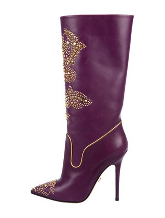 Versace Studded Leather Boots - Shoes - VES40335   The RealReal