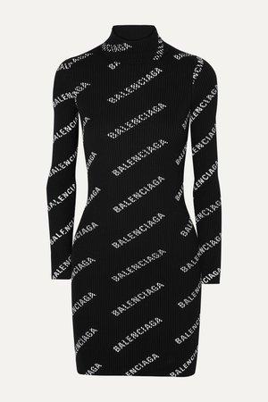 Black Printed ribbed-knit mini dress   Balenciaga   NET-A-PORTER