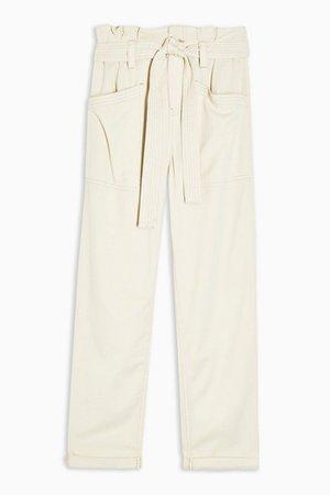 PETITE Ecru Tie Waist Utility Pants | Topshop