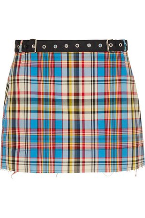 Marques' Almeida | Belted frayed plaid poplin mini skirt | NET-A-PORTER.COM