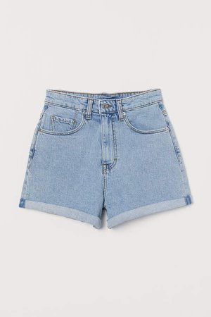 Mom Shorts High Waist - Blue