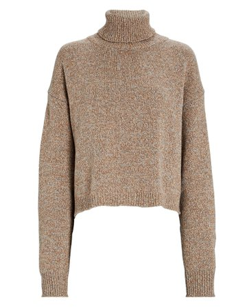 Tibi Recycled Cashmere Cropped Turtleneck Sweater   INTERMIX®