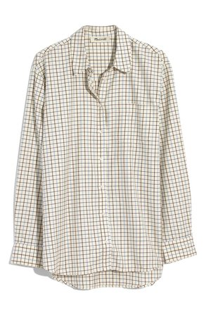Madewell Oversize Ex-Boyfriend Plaid Shirt white