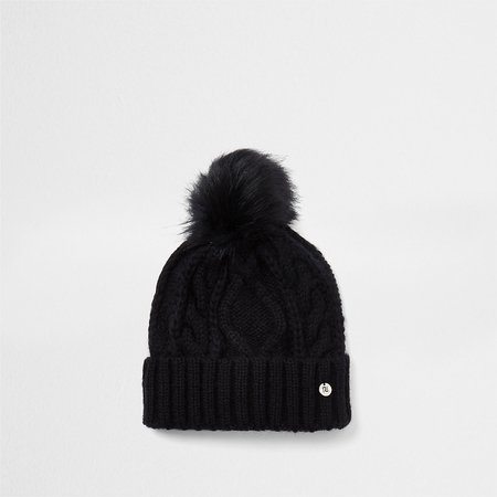 Black cable knit beanie hat | River Island