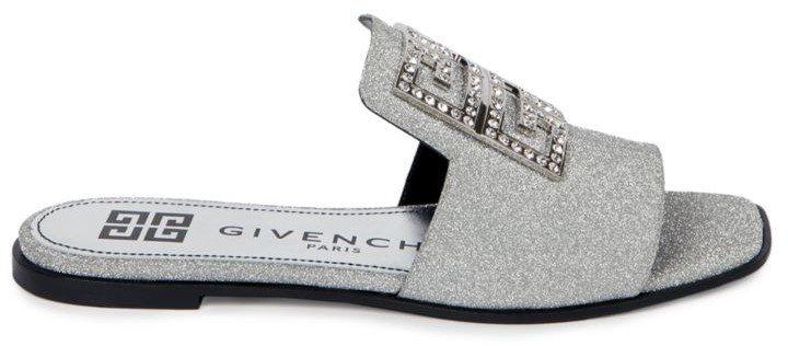 4G Flat Embellished Glitter Leather Sandals