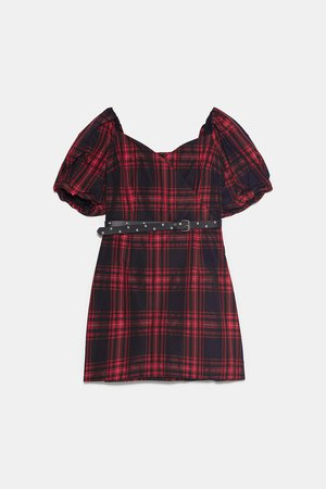 BELTED PLAID DRESS - NEW IN-WOMAN | ZARA United States red