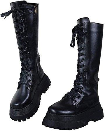 Amazon.com | CELNEPHO Womens High Platform Mid Calf Wedges Chunky High Heel Round-Toe Side Zip Fanshion Combat Boots for Women | Mid-Calf