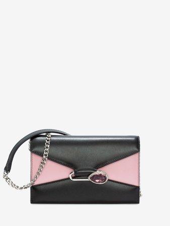 Alexander McQueen Black and Pink Clutch Bag