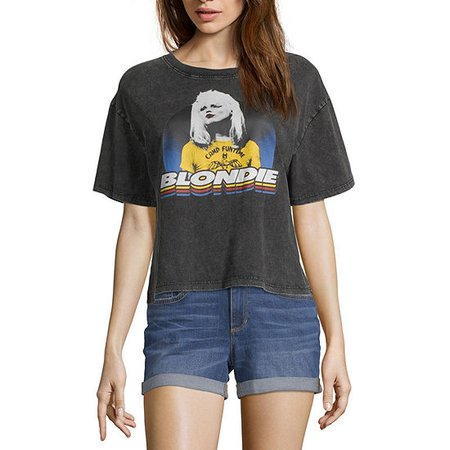 Juniors Womens Crew Neck Short Sleeve Graphic T-Shirt, Color: Black Blondie - JCPenney