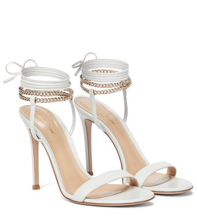 Gianvito Rossi - Chain-trimmed leather sandals | Mytheresa