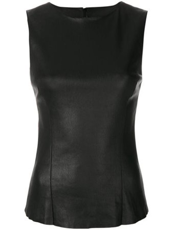 Drome Fitted Leather Top DPD0348PD074 Black | Farfetch