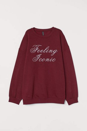 Text-print Sweatshirt - Red
