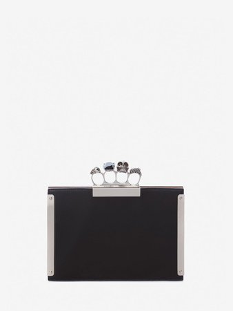 Women's Black  Small Jeweled Four Ring Clutch  | Alexander McQueen