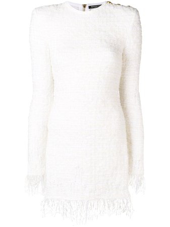 Balmain fringed tweed dress with Express Delivery