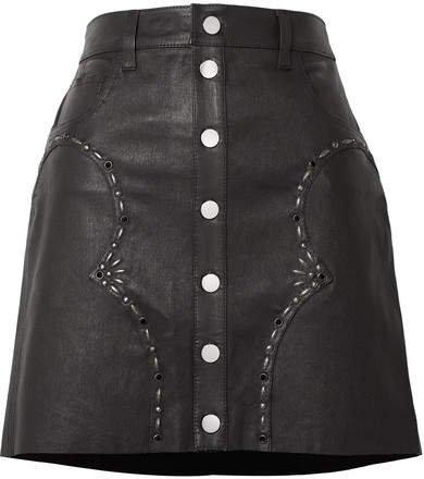 Embellished Leather Mini Skirt - Black