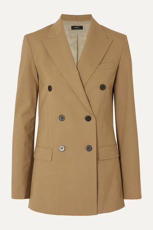 Theory | Double-breasted grain de poudre wool-blend blazer | NET-A-PORTER.COM