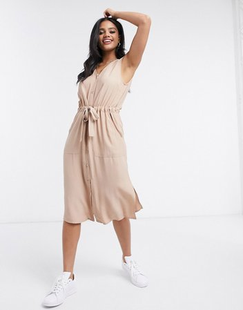 Y.A.S shirt dress with v neck and tie waist in beige | ASOS