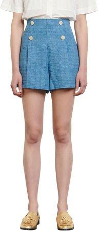 High Waist Button Tweed Shorts
