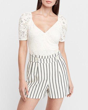 Super High Waisted Striped Linen Blend Shorts