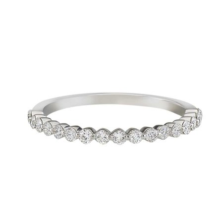 Single Prong Half Eternity Bridal Band in 14k White Gold by GiGi Ferranti
