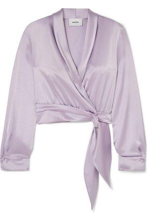 Nanushka | Salome cropped wrap-effect charmeuse blouse | NET-A-PORTER.COM