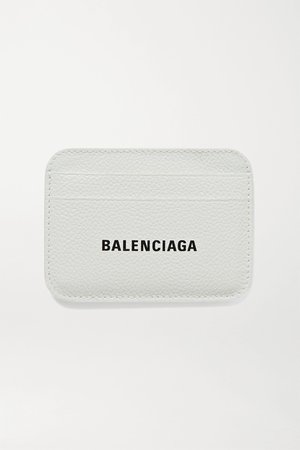 White Cash printed textured-leather cardholder | Balenciaga | NET-A-PORTER