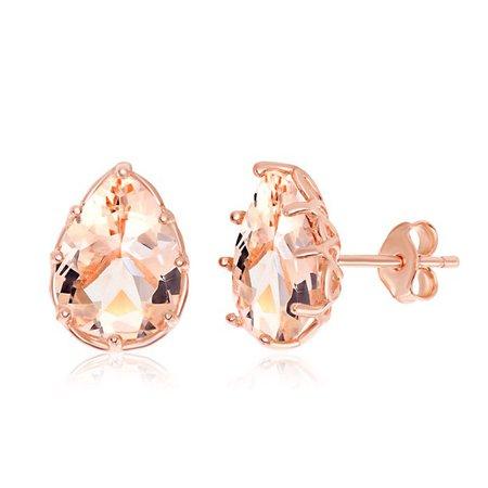 Beaux Bijoux - Sterling Silver Rose Gold Plated Six- Prong Eight- Prong Pear-Shaped Morganite CZ Stud Earrings - Walmart.com - Walmart.com