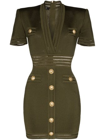 Shop green Balmain v-neck button-embellished mini dress with Express Delivery - Farfetch