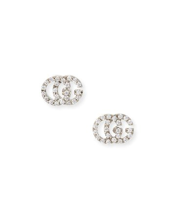 Gucci Running G Pave Diamond Stud Earrings in 18K White Gold | Neiman Marcus