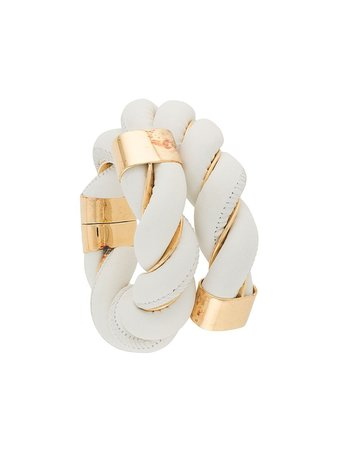 Shop white Bottega Veneta oversized twisted wraparound bracelet with Express Delivery - Farfetch