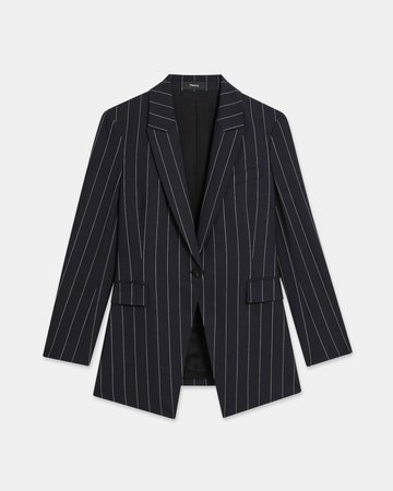 Etiennette Blazer in Striped Good Wool | Theory