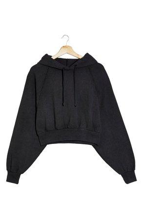 Topshop Crop Hoodie   black