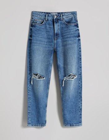 Ripped, cropped, straight-leg jeans - Denim - Woman   Bershka