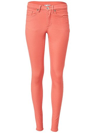 Mid Rise Color Skinny Jeans in Coral | VENUS